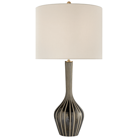 Parkwood Large Table Lamp in Natural Bisque and Black Pearl with Linen Shade