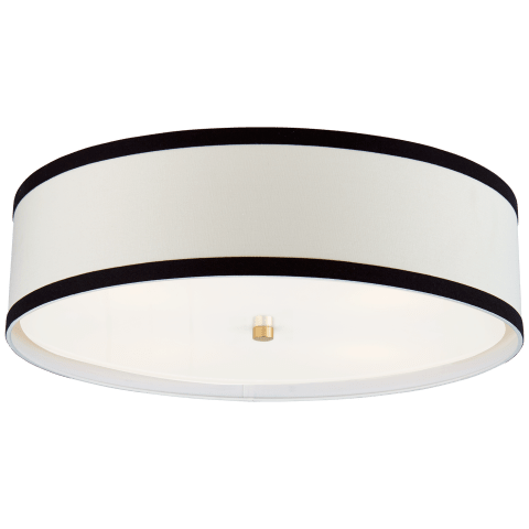 Walker Large Flush Mount in Gild with Cream Linen Shade with Black Linen Trim