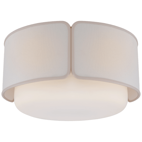 Eyre Large Flush Mount in Soft Brass and Soft White Glass with Linen with Cream Trimmed Shade