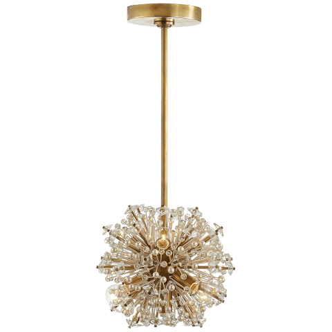 Dickinson Mini Chandelier in Soft Brass with Clear Glass and Cream Pearls