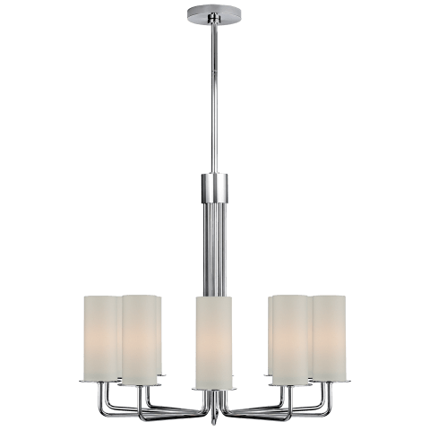 Larabee Large Chandelier in Polished Nickel with Cream Linen Shades