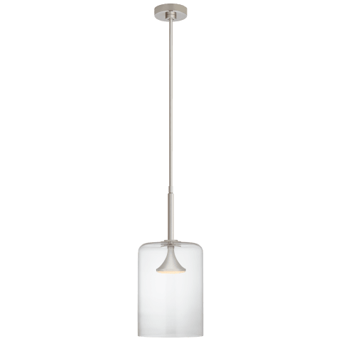 """Rochester 9.5"""" Cylinder Pendant in Polished Nickel with Clear Glass"""