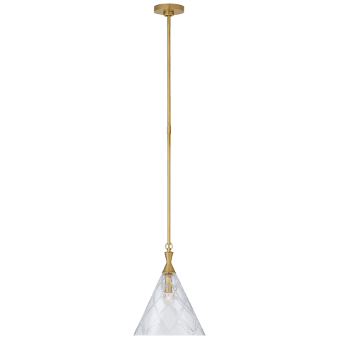 Darcy Medium Pendant in Soft Brass with Crystal