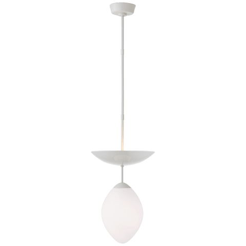 Boswell Small Pendant in White with White Glass