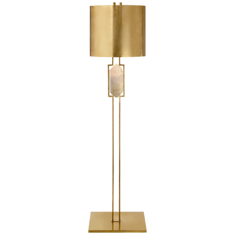 Halcyon Floor Lamp in Antique-Burnished Brass and Quartz with Antique Brass Shade