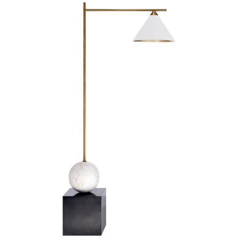 Cleo Floor Lamp in Bronze and Antique-Burnished Brass with Antique White Shade