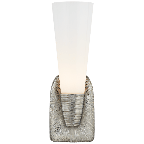Utopia Small Single Bath Sconce in Polished Nickel with White Glass