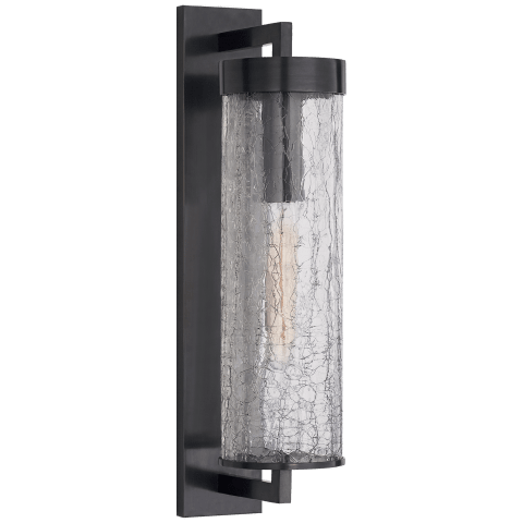 Liaison Large Bracketed Wall Sconce in Bronze with Crackle Glass