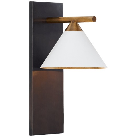 Cleo Sconce in Bronze and Antique-Burnished Brass with Matte White Shade
