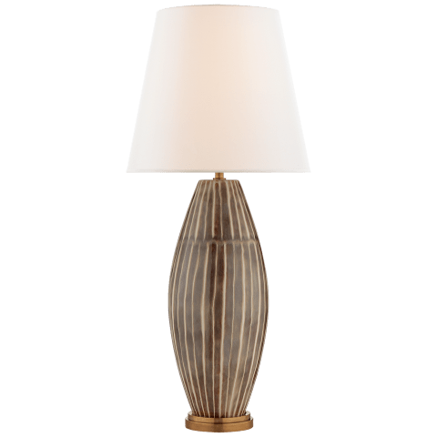Revello Table Lamp in Tiger Shell with Linen Shade