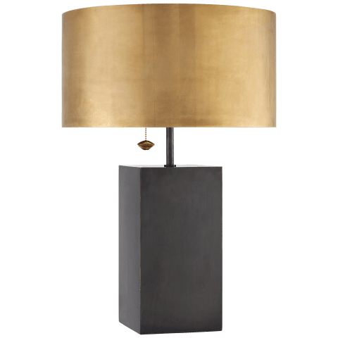 Zuma Table Lamp in Bronze with Antique-Burnished Brass Shade