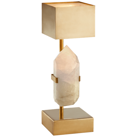 Halcyon Desk Lamp in Natural Quartz and Brass with Brass Shade