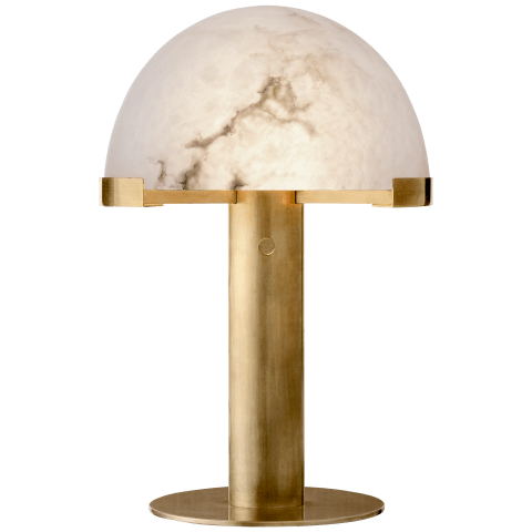 Melange Desk Lamp in Antique-Burnished Brass with Alabaster Shade