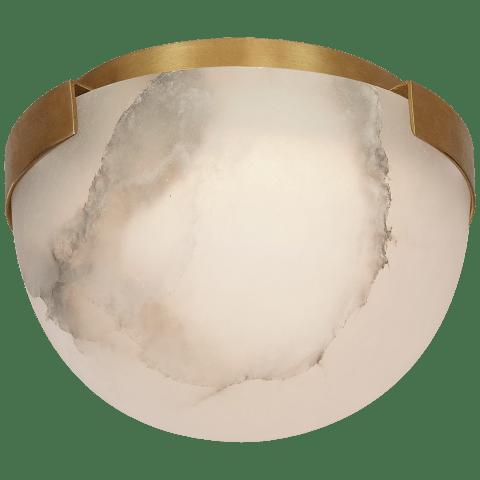 Melange Petite Flush Mount in Bronze with Alabaster Shade