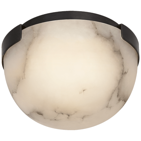 Melange Petite Flush Mount in Bronze with Alabaster Shade