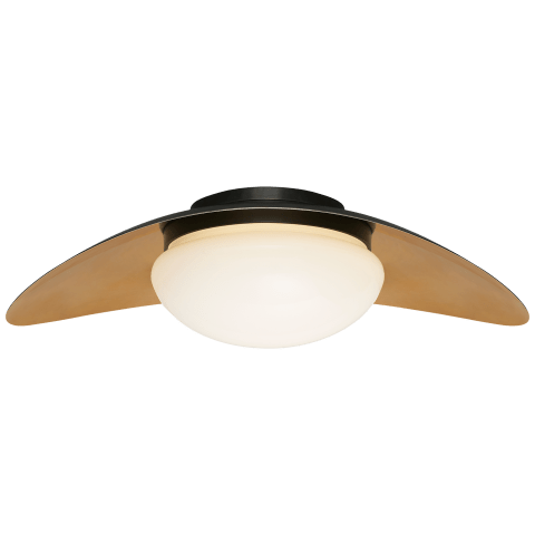 Nouvel Medium Flush Mount in Bronze and Antique-Burnished Brass with White Glass
