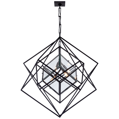 Cubist Medium Chandelier in Aged Iron