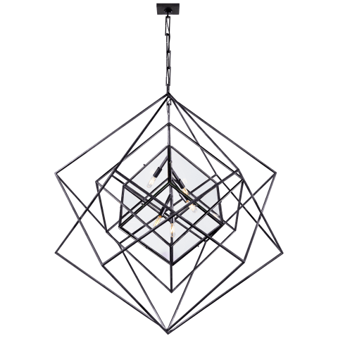 Cubist Large Chandelier in Aged Iron
