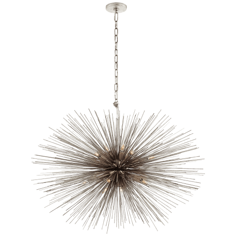 Strada Medium Oval Chandelier in Burnished Silver Leaf