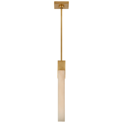 Covet Tall Single Pendant in Antique-Burnished Brass with Alabaster