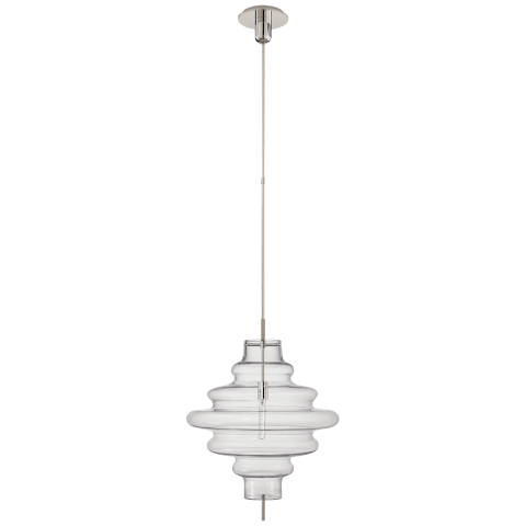 Tableau Large Pendant in Polished Nickel with Clear Glass Shade