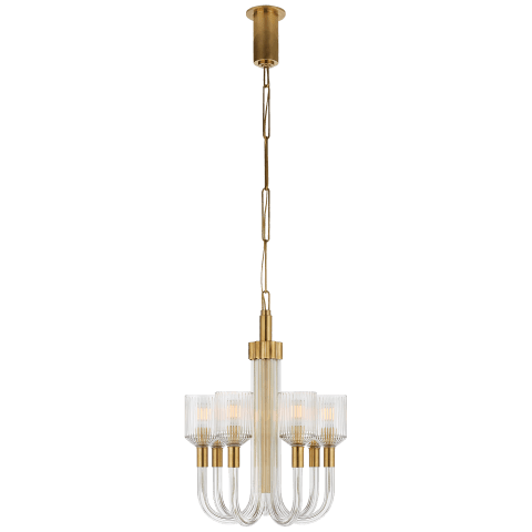 Reverie Small Single Tier Chandelier in Clear Ribbed Glass and Antique-Burnished Brass
