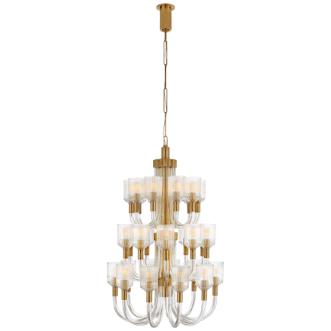 Reverie Large Three-Tier Chandelier in Clear Ribbed Glass and Antique-Burnished Brass