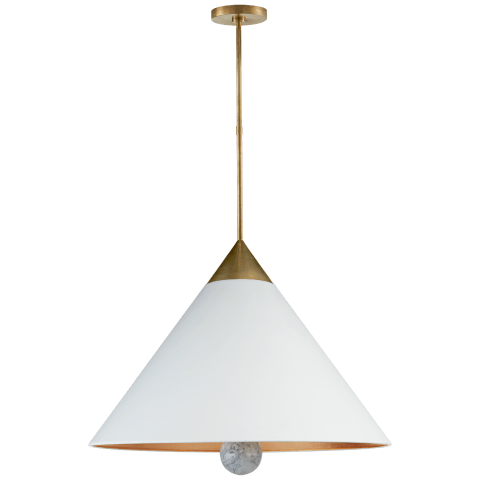 Cleo Large Pendant in Antique-Burnished Brass and White Marble with White Shade with Gild Interior