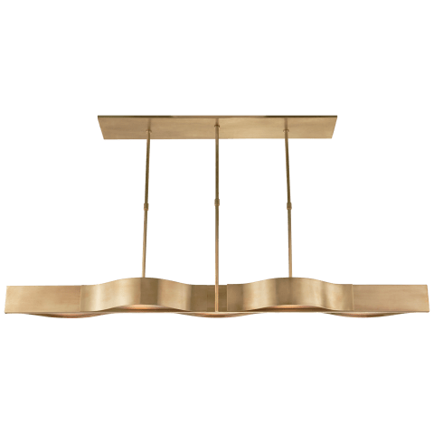 Avant Large Linear Pendant in Antique-Burnished Brass with Frosted Glass
