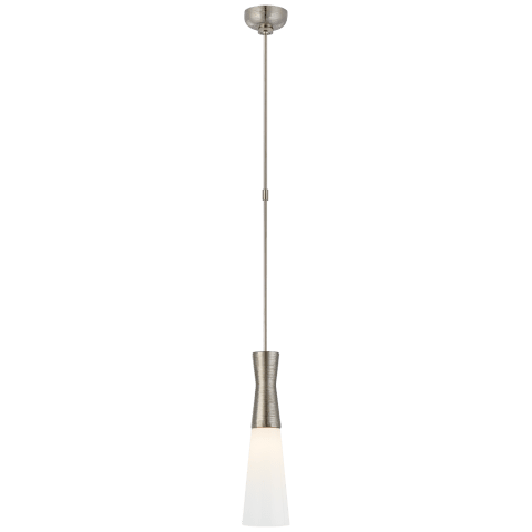 Utopia Medium Pendant in Polished Nickel with White Glass