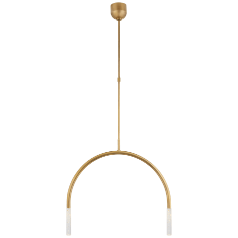 Rousseau Medium Linear Chandelier in Antique-Burnished Brass with Seeded Glass