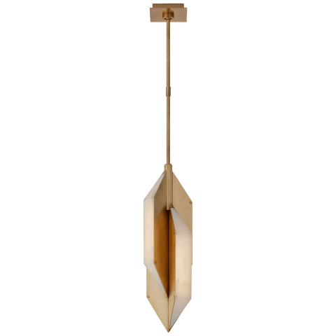 Ophelion Small Pendant in Antique-Burnished Brass with Alabaster