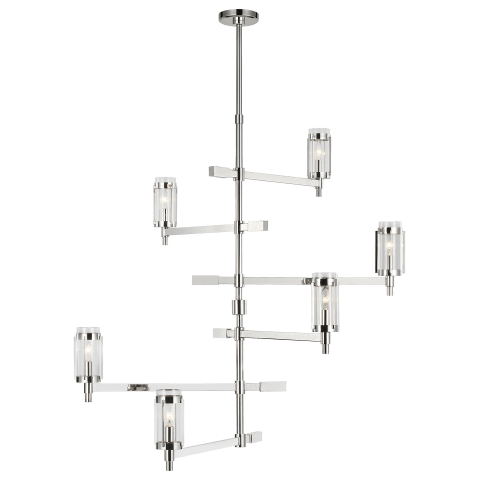 Flynn Tall Chandelier Polished Nickel