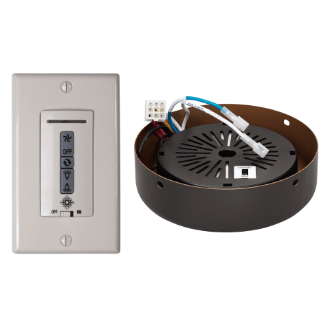 Hardwired wall remote control, receiver, & almond switch plates.BRUSHED STEEL receiver hub. Fan reverse, speed, and upligh White