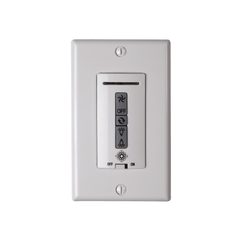 Hardwired remote WALL CONTROL ONLY. Fan reverse, speed, and uplight/downlight control. White