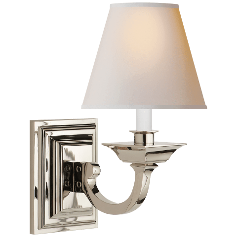 Edgartown Single Sconce in Polished Nickel with Natural Paper Shade