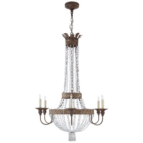 Lyon Large Flared Top Chandelier in Antique Gild and Polychrome with Crystal