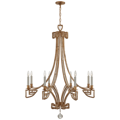 Gallina Medium Chandelier in Gilded Iron with Clear Glass