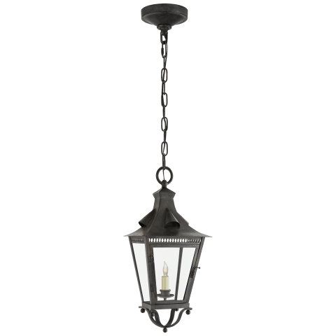 Orleans Small Hanging Lantern in French Rust with Clear Glass