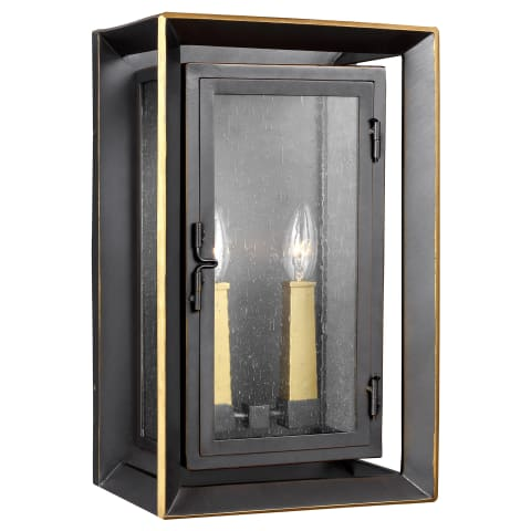 Urbandale 2 - Light Outdoor Wall Lantern Antique Bronze / Painted Burnished Brass