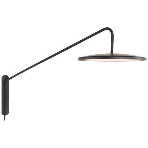 "Dot 16"" Articulating Wall Light in Matte Black"