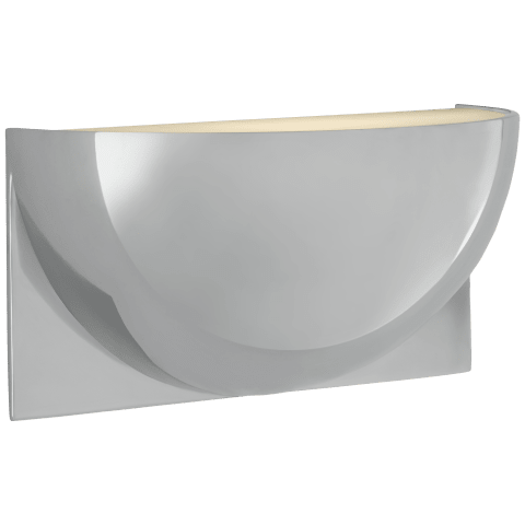 Quarter Sphere Small Up Light in Polished Nickel with Frosted Glass