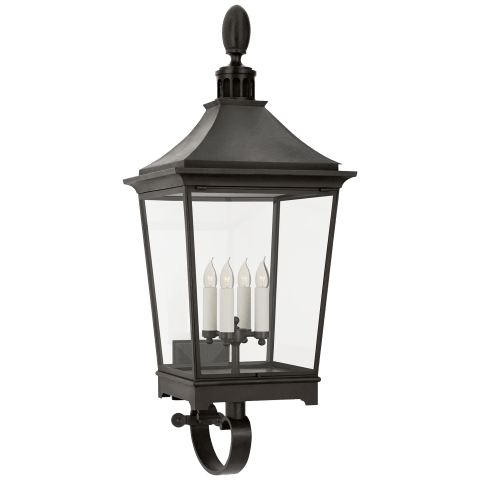 Rosedale Classic Large Bracketed Wall Lantern in French Rust with Clear Glass