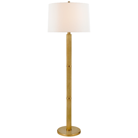 Barrett Large Knurled Floor Lamp in Natural Brass with Linen Shade