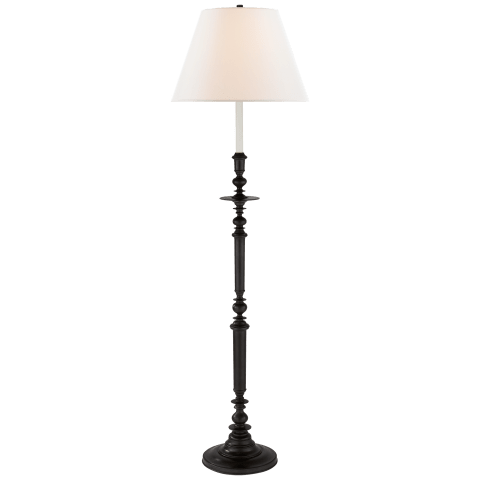 Laurel Candelstick Floor Lamp in Aged Iron with Linen Shade