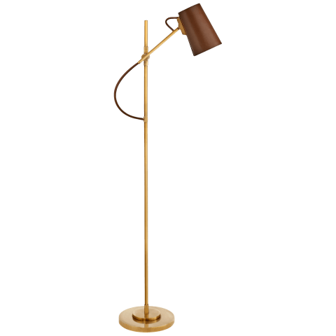 Benton Adjustable Floor Lamp in Natural Brass with Saddle Leather Shade