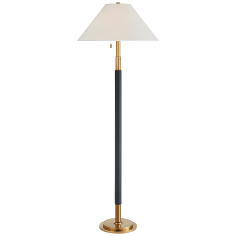 Garner Floor Lamp in Natural Brass and Navy Leather with Percale Shade