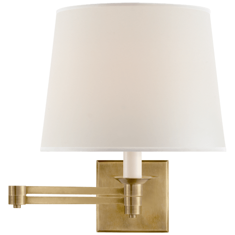 Evans Swing Arm Sconce in Natural Brass with Percale Shade