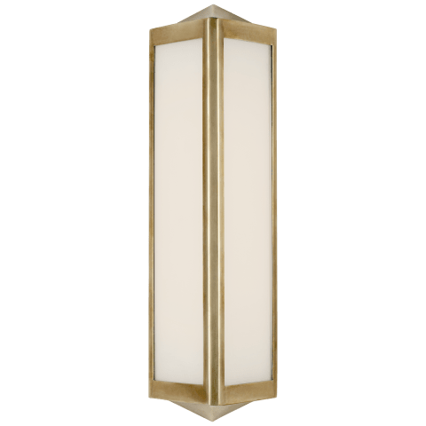 Geneva Small Sconce in Natural Brass with White Glass