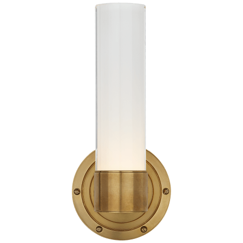 Jones Small Single Sconce in Natural Brass with White Glass